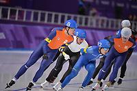 OLYMPIC GAMES: PYEONGCHANG: 24-02-2018, Gangneung Oval, Long Track, Mass Start Men, Chung Jaewon (KOR), Sven Kramer (NED), ©photo Martin de Jong