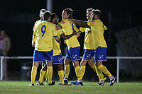 Charlie Edwards of Wingate & Finchley scores the second goal for his team and celebrates with his team mates during Hornchurch vs Wingate & Finchley, Pitching In Isthmian League Premier Division Football at Hornchurch Stadium on 6th October 2020