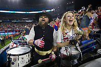 NASHVILLE, TN - SEPTEMBER 5: Two American Outlaws USA Fans during a game between Canada and USMNT at Nissan Stadium on September 5, 2021 in Nashville, Tennessee.