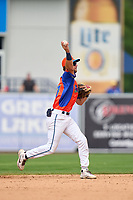 Las Calaveras de West Michigan shortstop Gage Workman (27) throws to first base during a game against the Fort Wayne TinCaps on August 22, 2021 at LMCU Ballpark in Comstock Park, Michigan.  (Mike Janes/Four Seam Images)