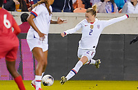 HOUSTON, TX - JANUARY 31: Emily Sonnett #2 of the United States sends a ball downfield during a game between Panama and USWNT at BBVA Stadium on January 31, 2020 in Houston, Texas.