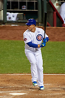 Chicago Cubs Anthony Rizzo bats during the MLB All-Star Game on July 14, 2015 at Great American Ball Park in Cincinnati, Ohio.  (Mike Janes/Four Seam Images)
