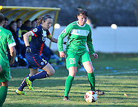 20131211 - HENIN-BEAUMONT , France :  Henin's Joanna Schwartz (29) pictured with PSG's  Sabrina Delannoy (left) during the female soccer match between FC Henin Beaumont and Paris Saint-Germain Feminin , of the Ninth matchday in the French First Female Division . Wednesday 11 December 2013. PHOTO DAVID CATRY
