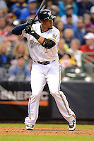 Milwaukee Brewers outfielder Carlos Gomez #27 during a game against the Minnesota Twins at Miller Park on May 27, 2013 in Milwaukee, Wisconsin.  Minnesota defeated Milwaukee 6-3.  (Mike Janes/Four Seam Images)