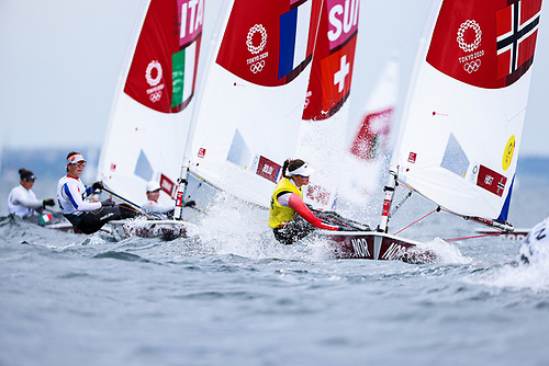 Tuesday's 16 knot northerly wind proved to be the refresher that Annalise Murphy needed. Pictured above in Norway's Laser Radial regatta leader Line Flem Hoest of Norway