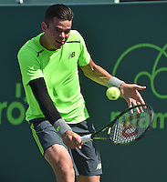 KEY BISCAYNE, FL - MARCH 30: Milos Roanic of Canada defeats Jeremy Chardy of France during day 8 of the Miami Open Presented by Itau at Crandon Park Tennis Center on March 30, 2015 in Key Biscayne, Florida<br /> <br /> <br /> People:  Milos Roanic<br /> <br /> Transmission Ref:  FLXX<br /> <br /> Must call if interested<br /> Michael Storms<br /> Storms Media Group Inc.<br /> 305-632-3400 - Cell<br /> 305-513-5783 - Fax<br /> MikeStorm@aol.com