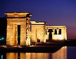 Spanien, Madrid: Templo de Debod, abends | Spain, Madrid: Templo de Debod at night