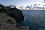 The cliffs and lighthouse St. Vincente in the Algarve region of Portugal. St. Vincente is situated on the most south west corner of Portugal and mainland Europe.