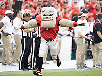ATHENS, GA - SEPTEMBER 11: Hairy Dawg cheers on the Georgia Bulldogs prior to the game between University of Alabama Birmingham Blazers and University of Georgia Bulldogs at Sanford Stadium on September 11, 2021 in Athens, Georgia.