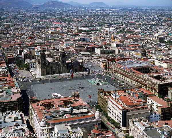 aerial photograph of the Zocalo, Mexico City's central square