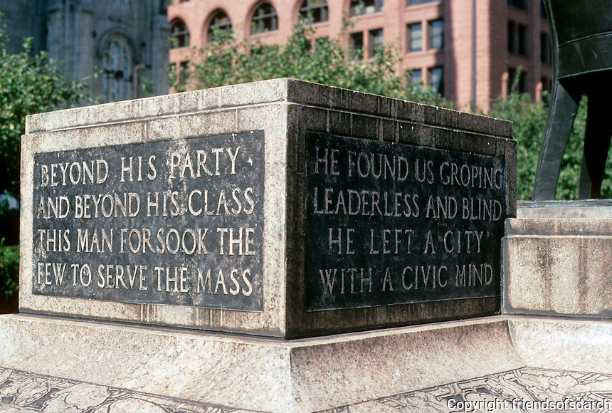 Cleveland: Tom Johnson Sculpture in Public Square. This is a portion of the inscription. Photo '01.