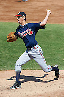 Tyler Deel #17 of Fletcher High School in Jacksonville, Florida  playing for the Atlanta Braves scout team during the East Coast Pro Showcase at Alliance Bank Stadium on August 2, 2012 in Syracuse, New York.  (Mike Janes/Four Seam Images)