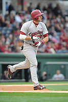 Outfielder Graham Saiko (26) of the South Carolina Gamecocks runs toward first base in a game against the Furman Paladins on Wednesday, April 3, 2013, at Fluor Field at the West End in Greenville, South Carolina. (Tom Priddy/Four Seam Images)