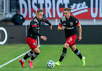 WASHINGTON, DC - MARCH 07: Eric Sorga #50 and Russell Canouse #4 start an attack during a game between Inter Miami CF and D.C. United at Audi Field on March 07, 2020 in Washington, DC.