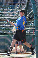 San Jose Giants infielder Brandon Belt of the California League All- Stars taking batting practice before the California League vs. Carolina League All-Star game held at BB&T Coastal Field in Myrtle Beach, SC on June 22, 2010.  The California League All-Stars defeated the Carolina League All-Stars by the score of 4-3.  Photo By Robert Gurganus/Four Seam Images