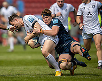 17th April 2021; AJ Bell Stadium, Salford, Lancashire, England; English Premiership Rugby, Sale Sharks versus Gloucester; Cobus Weise of Sale Sharks tackles Mark Atkinson of Gloucester Rugby