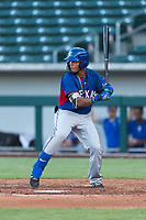 AZL Rangers left fielder Fernando Valdez (46) at bat during an Arizona League playoff game against the AZL Cubs 1 at Sloan Park on August 29, 2018 in Mesa, Arizona. The AZL Cubs 1 defeated the AZL Rangers 8-7. (Zachary Lucy/Four Seam Images)