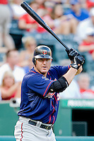 Minnesota Twins designated hitter Jim Thome #25 on deck during a Major League Baseball game against the Texas Rangers at the Rangers Ballpark in Arlington, Texas on July 27, 2011. Minnesota defeated Texas 7-2.  (Andrew Woolley/Four Seam Images)