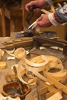 Europe/France/Franche Comté/39 /Jura/Bois-d'Amont: Musée de la Boissellerie, la boissellerie est une activité artisanale constituée par la fabrication de boîtes en bois, les artisans boisseliers qui ont su exploiter toutes les qualités de l'épicéa , au début du XXe siècle, s'est développée la fabrication de boîtes pour les fromages :: France, Jura, Bois d Amont, Boissellerie museum, manufacturing wooden cheese boxes,