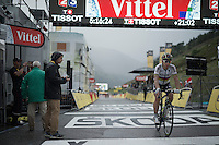 After serious hail/rain/thunderstorms hit the last part of the race, there are no more people left to cheer for World Champion Peter Sagan (SVK/Tinkoff) as he crosses the finish line in 61th position, 21 minutes behind stage winner Tom Dumoulin.<br /> <br /> finish of stage 9 in Andorra Arcalis (coming from Velha Val d'Aran/ESP, 184km)<br /> 103rd Tour de France 2016