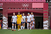 KASHIMA, JAPAN - AUGUST 2: Becky Sauerbrunn #4 of the USWNT enters the field during a game between Canada and USWNT at Kashima Soccer Stadium on August 2, 2021 in Kashima, Japan.