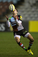 Ollie Lindsay-Hague of Harlequins 'A' under the high ball during the Aviva Premiership A League Final between Harlequins A and Saracens Storm at the Twickenham Stoop on Monday 17th December 2012 (Photo by Rob Munro)