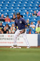Lake County Captains first baseman Jose Vicente (36) during the second game of a doubleheader against the West Michigan Whitecaps on August 6, 2017 at Classic Park in Eastlake, Ohio.  West Michigan defeated Lake County 9-0.  (Mike Janes/Four Seam Images)