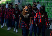 AUSTIN, TX - JUNE 16: Tobin Heath #17 of the USWNT walks into the stadium before a game between Nigeria and USWNT at Q2 Stadium on June 16, 2021 in Austin, Texas.