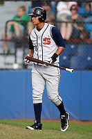July 30, 2009:  Third Baseman Carlos Silva of the State College Spikes during a game at Russell Diethrick Park in Jamestown, NY.  State College is the NY-Penn League Short-Season Class-A affiliate of the Pittsburgh Pirates.  Photo By Mike Janes/Four Seam Images
