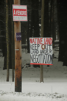 OKA, QUEBEC, JANUARY 19, 2010---Members of the Kahnesatake Mohawk community erected signs Monday instructing a developer not to build houses on disputed land across the street from their ancestral burial ground, which was the flashpoint of the 1990 Oka crisis, in Oka Quebec. The Kanesatake band council referred to events during the 1990 Oka crisis when it sent a letter last month to land owner demanding he not develop the land. (GAZETTE PHOTO/Robert J. Galbraith)