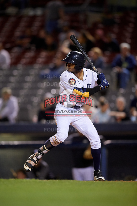 Connecticut Tigers center fielder Isrrael De La Cruz (1) at bat during a game against the Hudson Valley Renegades on August 20, 2018 at Dodd Stadium in Norwich, Connecticut.  Hudson Valley defeated Connecticut 3-1.  (Mike Janes/Four Seam Images)