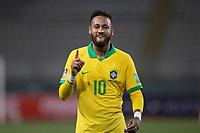 13th October 2020; National Stadium of Peru, Lima, Peru; FIFA World Cup 2022 qualifying; Peru versus Brazil; Neymar of Brazil celebrates his penalty goal in the 28th minute 1-1