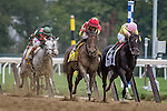 ELMONT, NY - OCTOBER 08: Manuel Franco, atop Yellow Agate #4, racing Irad Ortiz Jr., atop Libby's Tail #2, to the finish line, and winning the 69th Running of The Frizette, on Jockey Club Gold Cup Day at Belmont Park on October 8, 2016 in Elmont, New York. (Photo by Douglas DeFelice/Eclipse Sportswire/Getty Images)