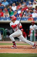 Palm Beach Cardinals shortstop Leobaldo Pina (15) follows through on a swing during a game against the Clearwater Threshers on April 15, 2017 at Spectrum Field in Clearwater, Florida.  Clearwater defeated Palm Beach 2-1.  (Mike Janes/Four Seam Images)