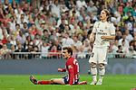 Real Madrid's Luka Modric and Atletico de Madrid's Antoine Griezmann during La Liga match between Real Madrid and Atletico de Madrid at Santiago Bernabeu Stadium in Madrid, Spain. September 29, 2018. (ALTERPHOTOS/A. Perez Meca)
