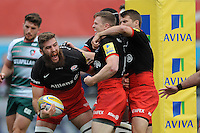 Will Fraser of Saracens celebrates scoring a try with Chris Ashton and Chris Wyles of Saracens during the Aviva Premiership semi final match between Saracens and Leicester Tigers at Allianz Park on Saturday 21st May 2016 (Photo: Rob Munro/Stewart Communications)