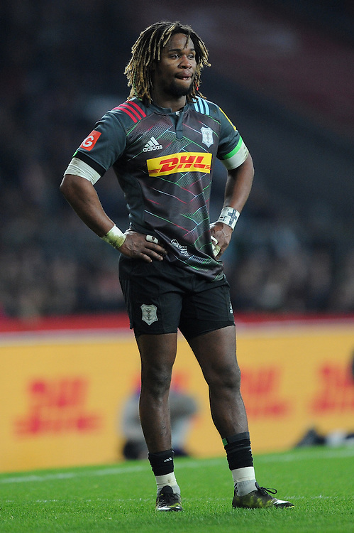Marland Yarde of Harlequins contemplates during the Aviva Premiership Rugby match between Harlequins and Gloucester Rugby at Twickenham Stadium on Tuesday 27th December 2016 (Photo by Rob Munro/Stewart Communications)