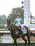 August 15, 2015. Lucky Speed and jockey Andrasch Starke after winning the G3 American St. Leger. Katherin Frankovic/ESW/CSM