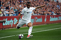 Jordan Ayew of Swansea City crosses the ball during the Premier League match between Swansea City and Everton at The Liberty Stadium, Swansea, Wales, UK. Saturday 06 May 2017