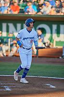 Miguel Vargas (18) of the Ogden Raptors during the game against the Helena Brewers at Lindquist Field on July 14, 2018 in Ogden, Utah. Ogden defeated Helena 8-6. (Stephen Smith/Four Seam Images)
