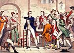 Les Girondins en prison, Revolution Francaise, gravure  --- Girondins in jail at the time of French Revolution, France, engraving