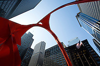 26 JUN 2014 - CHICAGO, USA - Flamingo a sculpture by Alexander Calder standing in Federal Plaza in Chicago in the USA (PHOTO COPYRIGHT © 2014 NIGEL FARROW, ALL RIGHTS RESERVED)