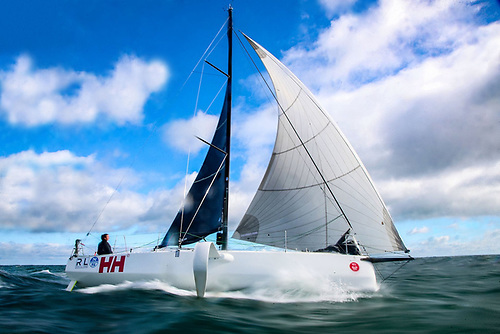 Round Ireland two-handed record holder Pam Lee of Greystones at the helm of the Figaro 3 Iarracht Maigeanta