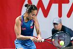Shuai Zhang of China in action during the Prudential Hong Kong Tennis Open 2018 match between Sabina Sharipova (UZB) and Shuai Zhang (CHN) at Victoria Park Tennis Stadium on October 09 2018 in Hong Kong, Hong Kong. Photo by Marcio Rodrigo Machado / Power Sport Images