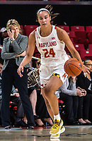 COLLEGE PARK, MD - FEBRUARY 13: Stephanie Jones #24 of Maryland moves up court during a game between Iowa and Maryland at Xfinity Center on February 13, 2020 in College Park, Maryland.