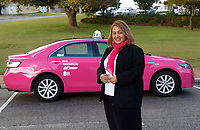 Drive Sabrina Vitel with her pink taxi, part of Swan Taxis' new initiative of a female friendly taxi fleet. photo by Trevor Collens