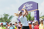 Suzann Pettersen tees off the 1st hole during the World Celebrity Pro-Am 2016 Mission Hills China Golf Tournament on 22 October 2016, in Haikou, China. Photo by Marcio Machado / Power Sport Images