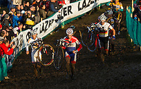 29 NOV 2014 - MILTON KEYNES, GBR - Lars Van Der Haar (NED) (second from the left) from the Netherlands and Development Team Giant-Shimano leads Kevin Pauwels (BEL) (left) from Belgium and Sunweb-Napoleon Games Cycling Team and, Philipp Walsleben (GER) (#third from the left) from Germany and BKCP-Powerplus, during the men's 2014-2015 UCI Cyclo-Cross World Cup round at Campbell Park in Milton Keynes, Great Britain (PHOTO COPYRIGHT © 2014 NIGEL FARROW, ALL RIGHTS RESERVED)