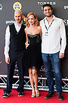 """British actor Dominic Monaghan, canadian actress Ksenia Solo and director of the film Carles Torrens attends to the red carpet of the presentation during the presentation of the film  """"Pet"""" at Festival de Cine Fantastico de Sitges in Barcelona. October 11, Spain. 2016. (ALTERPHOTOS/BorjaB.Hojas)"""