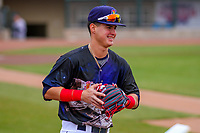 Cedar Rapids Kernels infielder Jose Miranda (15) prior to a Midwest League game against the Kane County Cougars on April 21, 2018 at Perfect Game Field at Veterans Memorial Stadium in Cedar Rapids, Iowa. Kane County defeated Cedar Rapids 9-2. (Brad Krause/Four Seam Images)